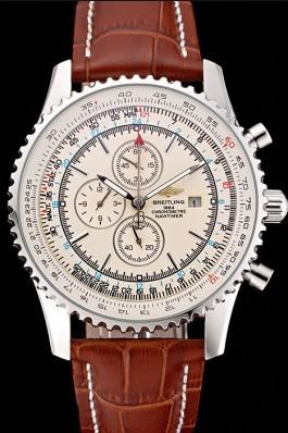 Breitling Navitimer World White Dial Brown Leather Bracelet 622514 Replica Designer Watches