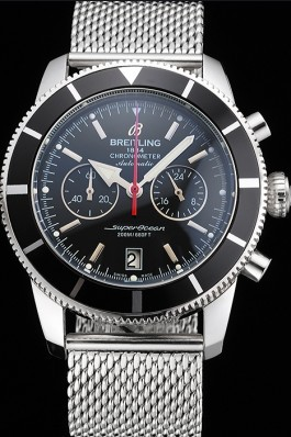 Breitling Superocean Heritage Chronographe 44 Black Dial And Bezel Stainless Steel Case And Bracelet Breitling Watches