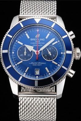 Breitling Superocean Heritage Chronographe 44 Blue Dial And Bezel Stainless Steel Case And Bracelet Breitling Watches