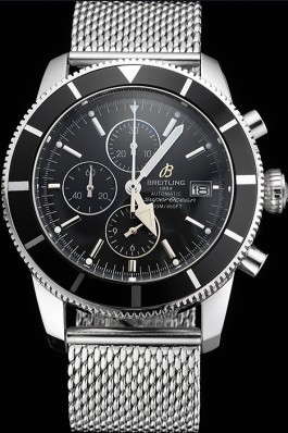 Breitling Superocean Heritage Chronographe 46 Black Dial And Bezel Stainless Steel Case And Bracelet Breitling Watches
