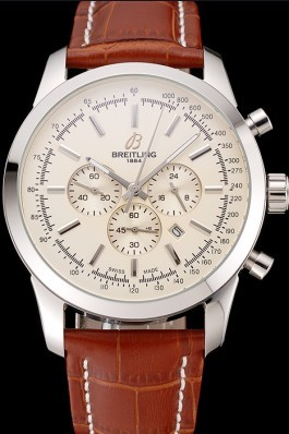 Breitling Transocean Beige Dial Brown Leather Strap Polished Stainless Steel Bezel Breitling Replica