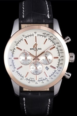 Breitling Transocean White Dial Black Leather Strap Rose Gold Bezel 98205 Breitling Replica