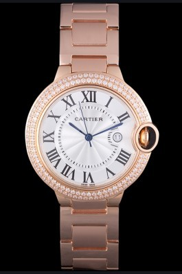 Cartier Ballon Bleu 42mm White Dial Diamonds Pink Gold Case And Bracelet Cartier Replica