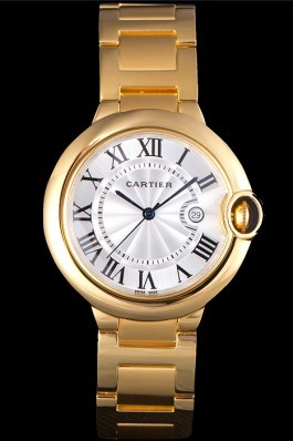 Cartier Ballon Bleu 42mm White Dial Gold Case And Bracelet Cartier Replica