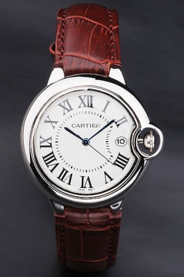 Cartier Ballon Bleu 42mm White Dial Stainless Steel Case Brown Leather Bracelet Cartier Replica