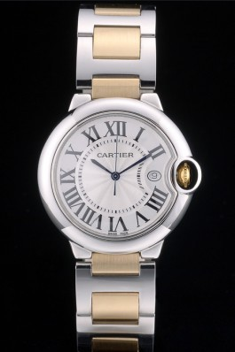 Cartier Ballon Bleu 38mm White Dial Stainless Steel Case Two Tone Gold Bracelet Cartier Replica