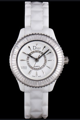 Dior VIII Baguette Cut White Diamonds with Diamond Encrusted Dial cd06 621359 Replica Christian Dior
