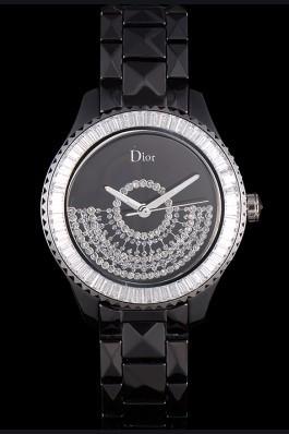Dior VIII Baguette Cut White Diamonds with Diamond Encrusted Dial cd13 621366 Replica Christian Dior