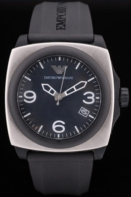 Emporio Armani Classic Black Rubber Strap Polished Stainless Steel Bezel Armani Watch Replica
