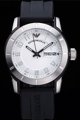 Emporio Armani Classic Black Rubber Strap White Dial Armani Watch Replica