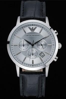 Emporio Armani Classic Chronograph Silver Dial Black Leather Bracelet 622339 Armani Watch Replica