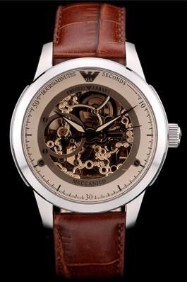 Emporio Armani Meccanico Brown Leather Strap Open Dial 98249 Armani Watch Replica
