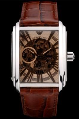 Emporio Armani Meccanico Brown Leather Strap Open Dial 98255 Armani Watch Replica