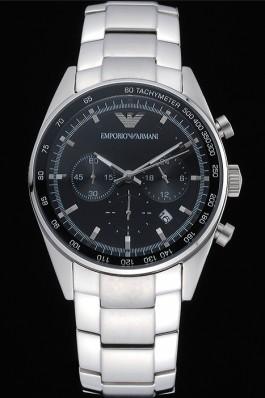Emporio Armani Sportivo Chronograph Black Dial Stainless Steel Bracelet 622349 Replica Armani Watch