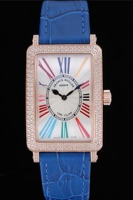 Franck Muller Long Island Classic White Dial Diamonds Case Blue Leather Band 622376 Franck Muller Fake