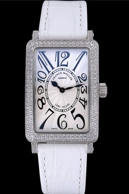 Franck Muller Long Island Classic White Dial Diamonds Case White Leather Band 622368 Franck Muller Fake