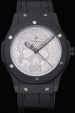 Hublot Classic Fusion Diamond Skull Dial Black Steel Case Black Leather Strap 622815 Hublot Replica Watch