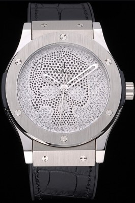Hublot Classic Fusion Diamond Skull Dial Stainless Steel Case Black Leather Strap 622814 Hublot Replica Watch