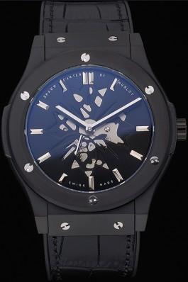 Hublot Classic Fusion Shawn Carter Black Steel Case Black Leather Strap 622817 Hublot Replica Watch