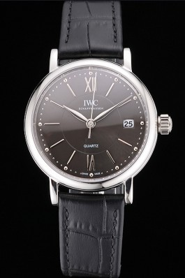 IWC Portofino Dark Gray Dial Stainless Steel Case Black Leather Strap Iwc Replica