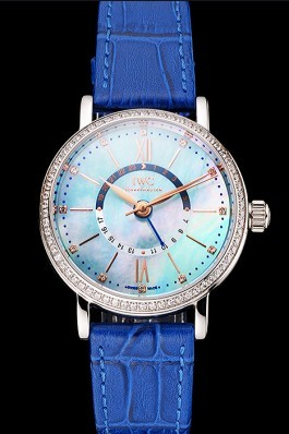 IWC Portofino Day And Night Pearl Dial Stainless Steel Case Blue Leather Strap Iwc Replica