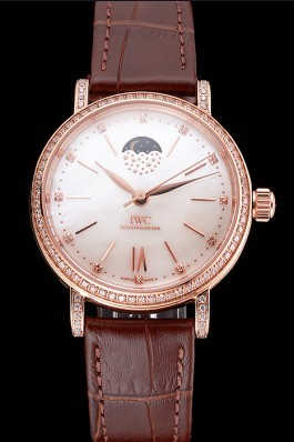 IWC Portofino Moon Phase Silver Dial Rose Gold Case Diamonds Bezel Brown Leather Strap Iwc Replica