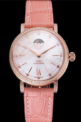 IWC Portofino Moon Phase Silver Dial Rose Gold Case Diamonds Bezel Pink Leather Strap Iwc Replica