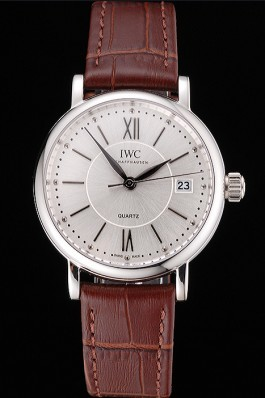 IWC Portofino Silver Dial Stainless Steel Case Brown Leather Strap Iwc Replica