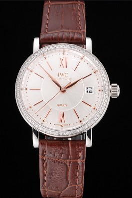 IWC Portofino Silver Dial Stainless Steel Case Diamonds Bezel Brown Leather Strap Iwc Replica