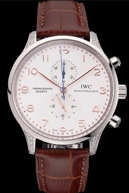IWC Portugieser Chronograph White Dial Rose Gold Hands And Numerals Steel Case With Diamonds Brown Leather Strap Iwc Replica