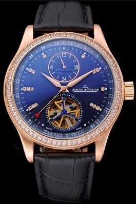 Jaeger-LeCoultre Master Tourbillon Dualtime Black Dial Gold Case With Diamonds Brown Leather Strap 622783 Le Coultre Watch
