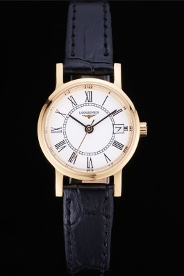 Longines La Grande Classique White Round Dial Gold Case Black Leather Band Small 622383 Replica Longines Classic