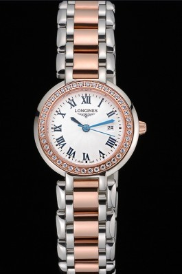 Longines PrimaLuna Stainless Steel And Gold Diamond Case 622585 Longines Replica Watch