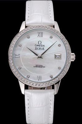 Omega DeVille Prestige Co-Axial Diamond Silver Case Mother-Of-Pearl Dial White Leather Strap  Omega Replica Watch