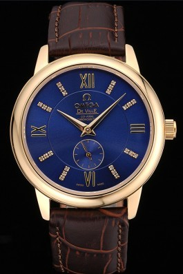 Omega DeVille Prestige Small Seconds Blue Dial Gold Case Brown Leather Bracelet 622601 Omega Replica Watch