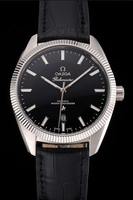 Omega Globemaster Black Dial Stainless Steel Case Black Leather Strap Best Omega Replica