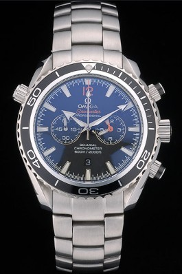 Omega Seamaster Planet Ocean Black Bezel Black Dial Stainless Steel Strap 80240 Omega Replica Seamaster