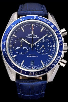 Omega Speedmaster Blue Dial Stainless Steel Case Blue Leather Strap 622808 Omega Speedmaster Replica