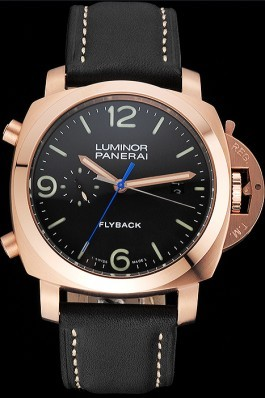 Panerai Luminor 1950 3 Days Chrono Flyback Black Dial Rose Gold Case Black Leather Strap Panerai Luminor Replica