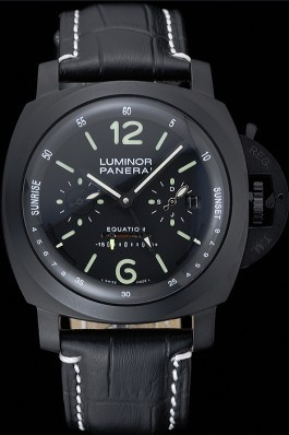 Panerai Luminor Black Ionized Stainless Steel Case Black Dial Black Leather Strap 98162 Panerai Luminor Replica