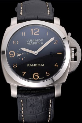 Panerai Luminor Marina 1950 Black Dial Brushed Steel Case Black Embossed Leather Strap Panerai Luminor Replica