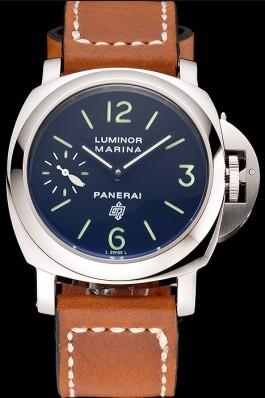 Panerai Luminor Marina Stainless Steel Bezel Brown Leather Bracelet 622313 Panerai Luminor Replica