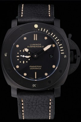 Panerai Luminor Submersible Black Dial Black Case Black Leather Strap Panerai Luminor Replica