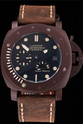 Panerai Luminor Submersible Black Dial Brown Case Brown Leather Strap  Panerai Luminor Replica