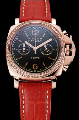 Panerai Radiomir 8 Days Chronograph Black Dial Diamond Bezel Rose Gold Case Red Leather Strap 1453797 Panerai Replica Watch