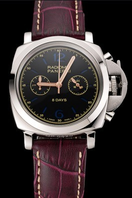 Panerai Radiomir 8 Days Chronograph Black Dial Stainless Steel Case Plum Leather Strap 1453795 Panerai Replica Watch
