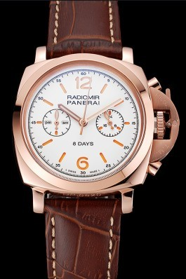 Panerai Radiomir 8 Days Chronograph White Dial Rose Gold Case Brown Leather Strap 1453796 Panerai Replica Watch