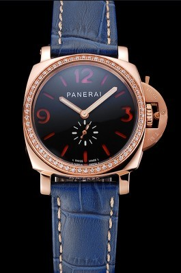 Panerai Radiomir Black Dial Diamond Bezel Rose Gold Case Blue Leather Strap 1453800 Panerai Replica Watch