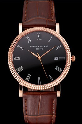 Patek Philippe Calatrava Black Dial Roman Numerals Ribbed Bezel Rose Gold Case Brown Leather Strap Aaa Grade Patek Philippe Replica