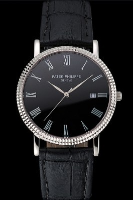 Patek Philippe Calatrava Black Dial Roman Numerals Ribbed Bezel Stainless Steel Case Black Leather Strap Aaa Grade Patek Philippe Replica
